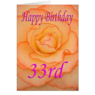 Carte Trente-troisième fleur heureuse d'anniversaire