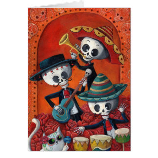 Carte Trio de mariachi de Dia de Los Muertos Skeleton