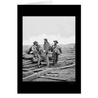 Carte Trois prisonniers confédérés à Gettysburg 1863
