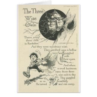 Carte trois vieux hiboux sages