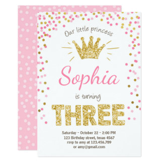 Carte Troisième princesse Gold Pink trois d'invitation