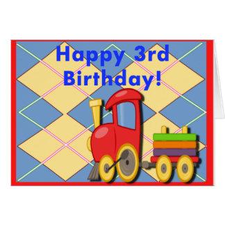 Carte Troisième train heureux d'anniversaire
