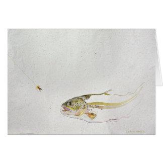 Carte Truite chassant la mouche d'un pêcheur