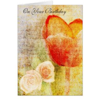 Carte Tulipe et roses rouges inspirés
