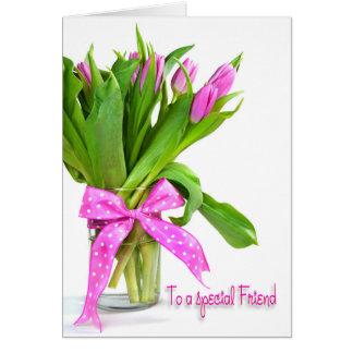 Carte Tulipes d'anniversaire pour l'ami