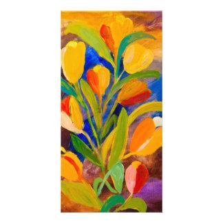 Carte Tulipes peignant en acrylique