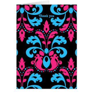 Carte Turquoise de roses indien et damassé noire