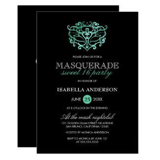 Carte Turquoise et partie noire du bonbon 16 à mascarade