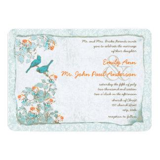 Carte Turquoise vintage d'oiseaux et mariage damassé
