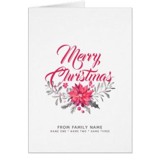 Carte Typographie de Joyeux Noël et bouquet de fleurs