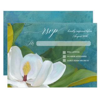 Carte Typographie florale de magnolia romantique
