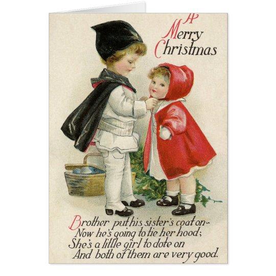 Carte Typographie vintage d'enfants de Noël de couleur