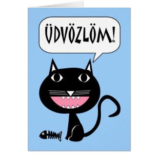 Carte Udvözlöm ! Bonjour dans le Hongrois, chat avec des