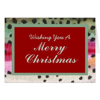 Carte Un de Noël aimable de peau de truite de pêche de