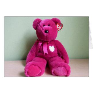 Carte Un ours fuchsia de peluche adorable