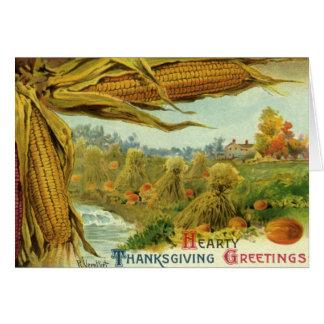 Carte Un thanksgiving chaleureux ; Maïs et meules de