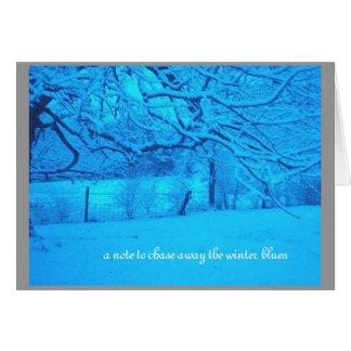 """Carte """"une note pour chasser loin les bleus d'hiver """""""