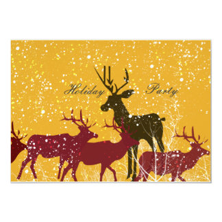 Carte Vacances d'or de nature animale de neige