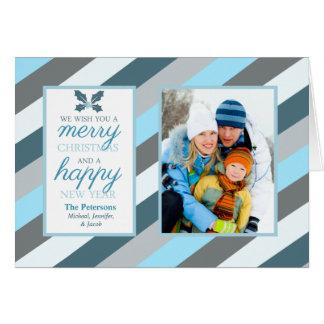 Carte Vacances pliées par photo givrée de rayures bleues