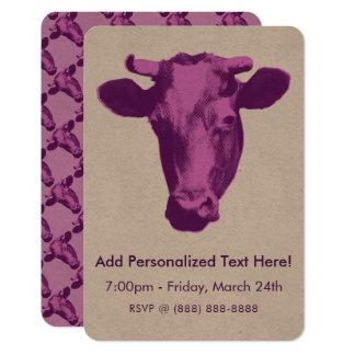 Carte Vache rose et pourpre à art de bruit