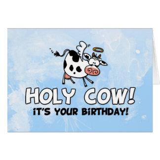 Carte Vache sainte ! C'est votre anniversaire !