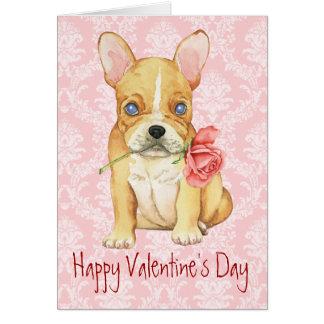 Carte Valentine Frenchie rose