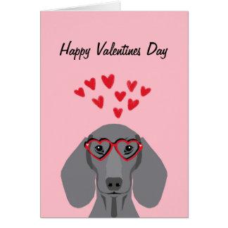 Carte Valentines de teckel de Doxie - gris