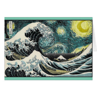 Carte Van Gogh la nuit étoilée - Hokusai la grande vague