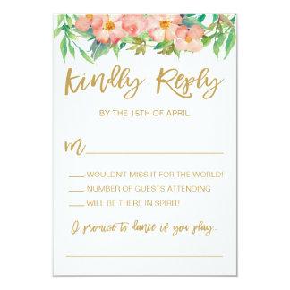 Carte Verdure et guirlande florale de rose épousant RSVP