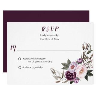 Carte Verdure pourpre RSVP #2 de bouquet de pivoines de