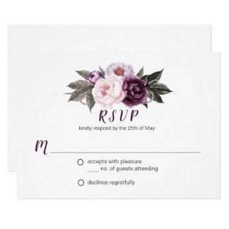 Carte Verdure pourpre RSVP #3 de bouquet de pivoines de
