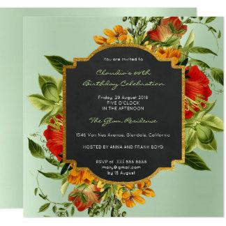 Carte Vert d'or de menthe de cadre d'anniversaire