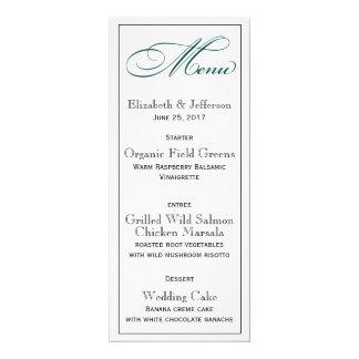 Carte vert-foncé élégante de menu de mariage carton d'invitation  10,16 cm x 23,49 cm