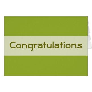 Carte Vert olive de félicitations