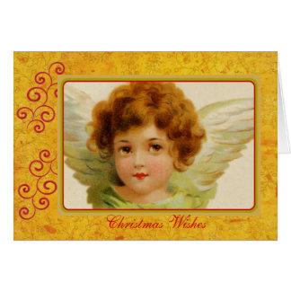 Carte Vert vintage et rouge d'ange de Noël