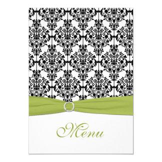 Carte verte, blanche, et noire de menu de mariage carton d'invitation  12,7 cm x 17,78 cm