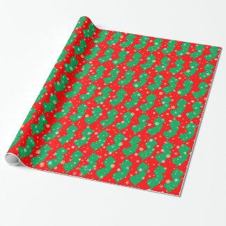 Carte verte et rouge de fête des flocons de neige papier cadeau