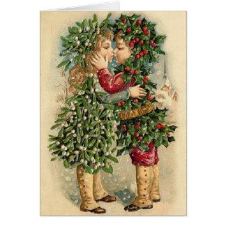 Carte victorienne de baiser de Noël