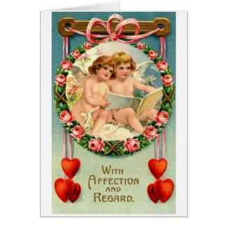 Carte victorienne de Saint-Valentin d'affection de