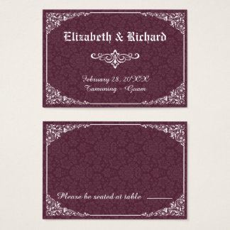 Carte victorienne gothique d'endroit de mariage