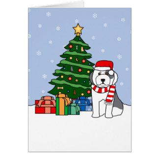 Carte Vieil arbre anglais de chien de berger et de Noël