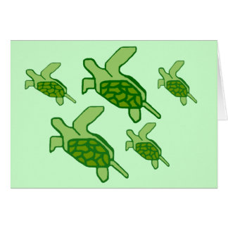 Carte vierge de Honu (tortues de mer) en vol