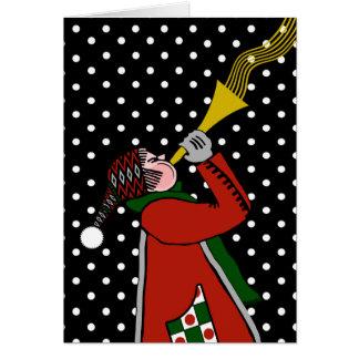 Carte vierge de Noël, soufflant la trompette dans