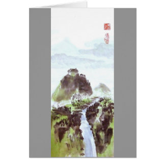 Carte vierge de paysage chinois de vallée