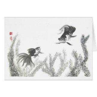 Carte vierge de poisson rouge chanceux chinois