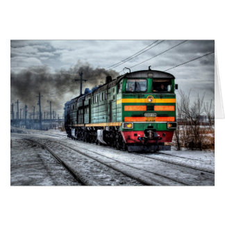 Carte vierge de train locomotif antique
