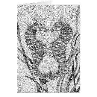 Carte vierge liée de note d'hippocampes