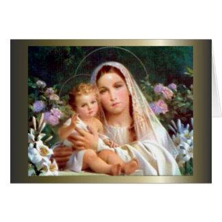 Carte Vierge Marie béni et enfant Jésus de nourrisson