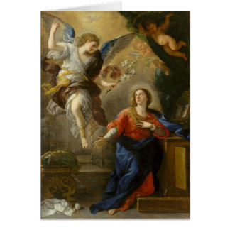 Carte Vierge Marie béni par ange annonce