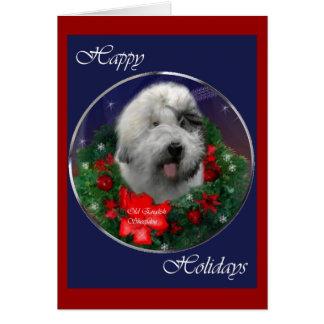 Carte Vieux cadeaux anglais de Noël de chien de berger